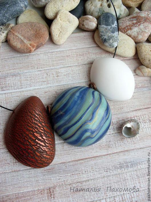 Колье, бусы ручной работы. Ярмарка Мастеров - ручная работа. Купить Колье из полимерной глины Морской блюз.. Handmade.