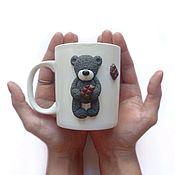 Кружки ручной работы. Ярмарка Мастеров - ручная работа Кружка с мишкой Teddy из полимерной глины. Handmade.