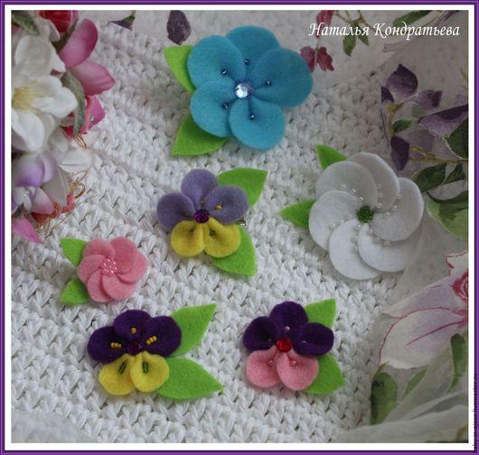 Детская бижутерия ручной работы. Ярмарка Мастеров - ручная работа. Купить Заколочки-цветочки. Handmade. Комбинированный, украшение для волос, фетр