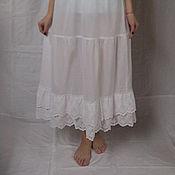 Одежда ручной работы. Ярмарка Мастеров - ручная работа Нижняя юбка из хлопка Арт.100 с шитьем белая. Handmade.