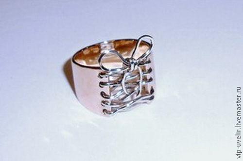 """Кольца ручной работы. Ярмарка Мастеров - ручная работа. Купить Женское кольцо """"Корсет Кармен"""". Золото 585, ручная шнуровка.. Handmade."""