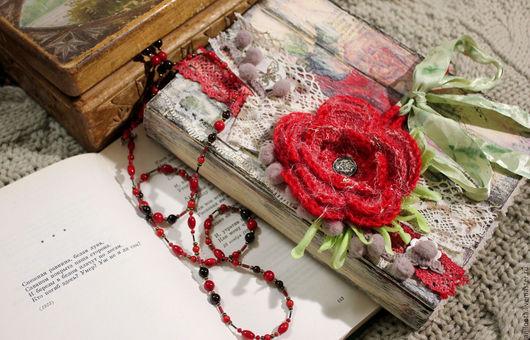 Блокноты ручной работы. Ярмарка Мастеров - ручная работа. Купить Блокнот Красный цветок. Handmade. Ярко-красный, блокнот для девушки