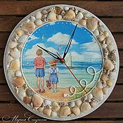 """Для дома и интерьера ручной работы. Ярмарка Мастеров - ручная работа Часы настенные """"У самого синего моря..."""", морской стиль, для детской. Handmade."""