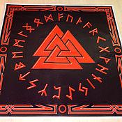 Фен-шуй и эзотерика handmade. Livemaster - original item Will VALKNUT in the circle Futhark, runic cloth, satin fabric. Handmade.
