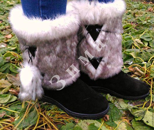 Обувь ручной работы. Ярмарка Мастеров - ручная работа. Купить Унты женские C-610. Handmade. Чёрно-белый, зима