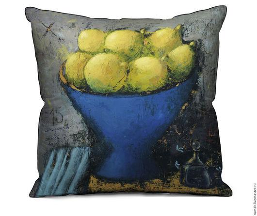 """Текстиль, ковры ручной работы. Ярмарка Мастеров - ручная работа. Купить наволочка """"15 лимонов"""". Handmade. Синий, наволочка, лен"""