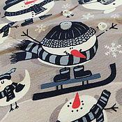 Ткани ручной работы. Ярмарка Мастеров - ручная работа Футер с лайкрой СНЕГОВИКИ в ШАПКАХ. Handmade.