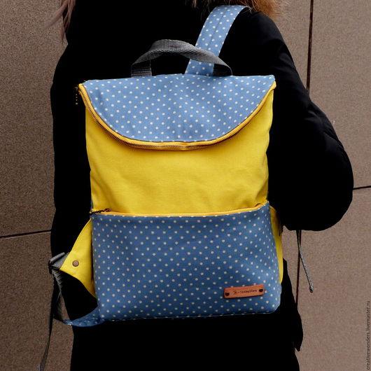 """Рюкзаки ручной работы. Ярмарка Мастеров - ручная работа. Купить рюкзак """" горох и желтый"""". Handmade. Желтый, хлопок"""