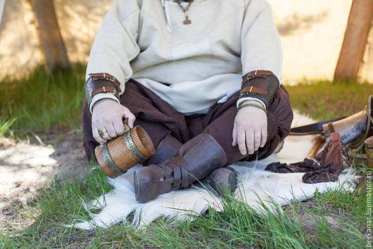 Обувь ручной работы. Ярмарка Мастеров - ручная работа. Купить Викингские сапоги тисненые. Handmade. Коричневый, искусственный шнурок