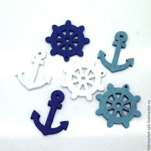 Другие виды рукоделия ручной работы. Ярмарка Мастеров - ручная работа. Купить Пуговицы морские (Якорь и Штурвал). Handmade. Комбинированный