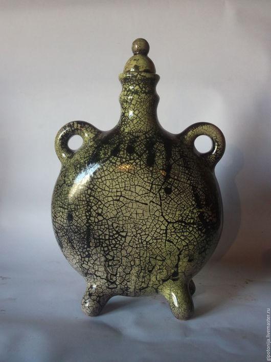 """Посуда ручной работы. Ярмарка Мастеров - ручная работа. Купить Фляга """"Зелёное кракле"""". Handmade. Историческая посуда, реконструкция посуды"""