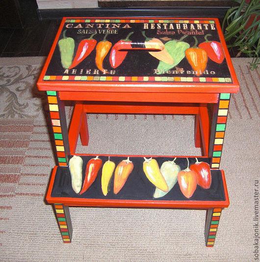 """Мебель ручной работы. Ярмарка Мастеров - ручная работа. Купить Табурет-лестница """"Рepper"""". Handmade. Ярко-красный, чили"""