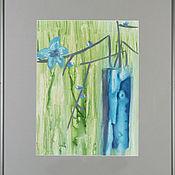 Картины и панно ручной работы. Ярмарка Мастеров - ручная работа Синие цветы в синей вазе. Handmade.