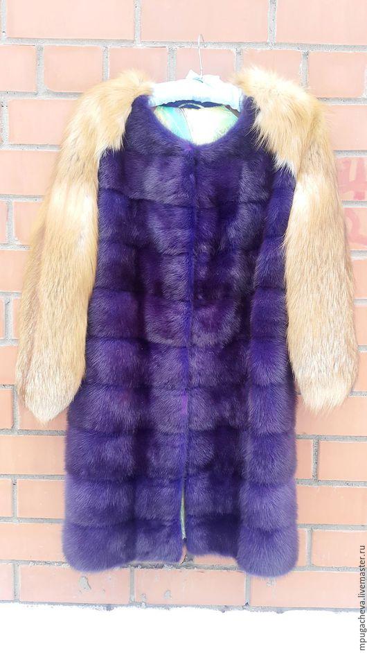 Верхняя одежда ручной работы. Ярмарка Мастеров - ручная работа. Купить Шуба норковая с рукавами из лисицы. Повтор. Handmade.