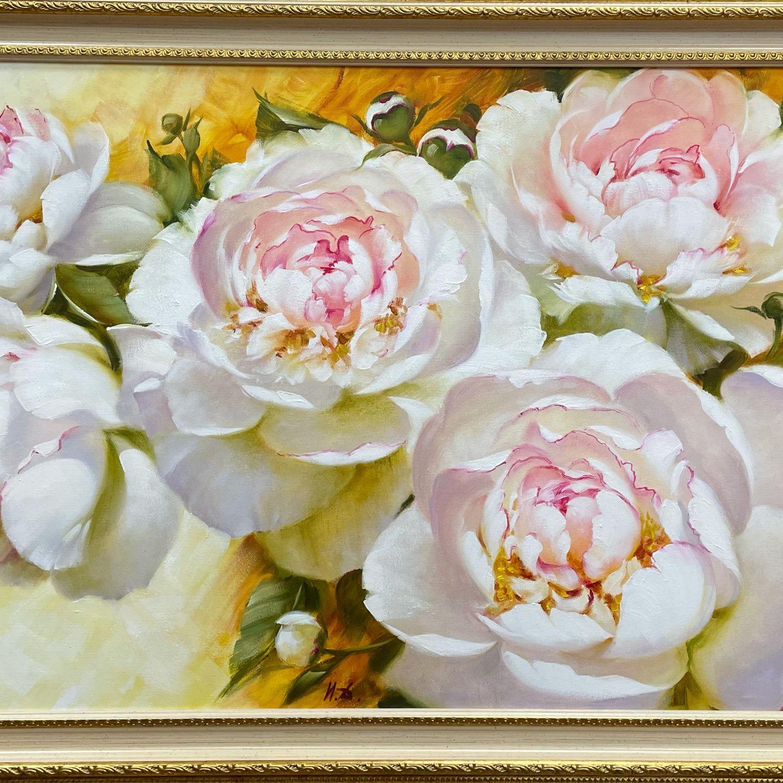 Картина «Белые пионы» 60х90, Картины, Москва,  Фото №1