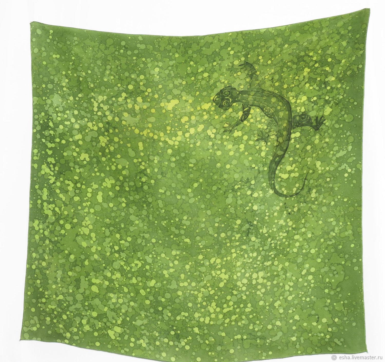 Шелковый шейный платок - гороховая ящерка, батик, ручная роспись, Платки, Самара,  Фото №1