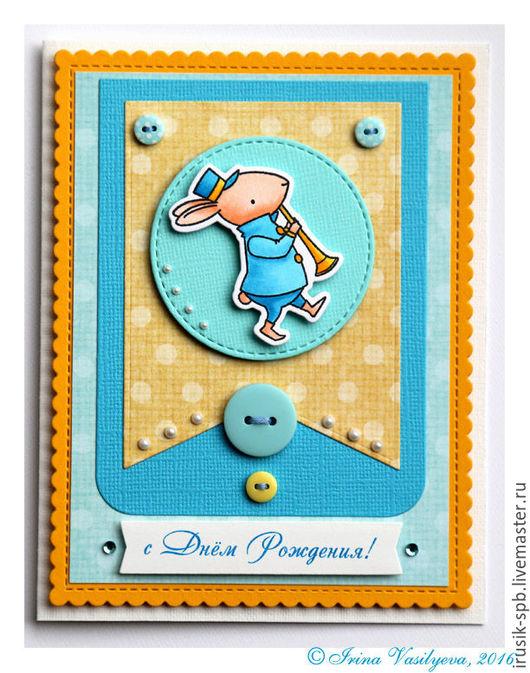 Детские открытки ручной работы. Ярмарка Мастеров - ручная работа. Купить Открытка с зайчонком к дню рождения. Handmade. Бирюзовый, зайка