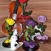 """Цветы и флористика ручной работы. Ярмарка Мастеров - ручная работа Розамелия """"Музыка сердца"""" фиолетовая на низкой подставке. Handmade."""