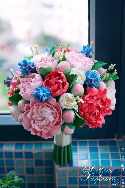 Свадебные цветы ручной работы. Ярмарка Мастеров - ручная работа. Купить Букет невесты из полимерной глины с пионами и сиренью. Handmade.