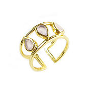 Украшения handmade. Livemaster - original item Gold ring with rose quartz, three stone ring. Handmade.