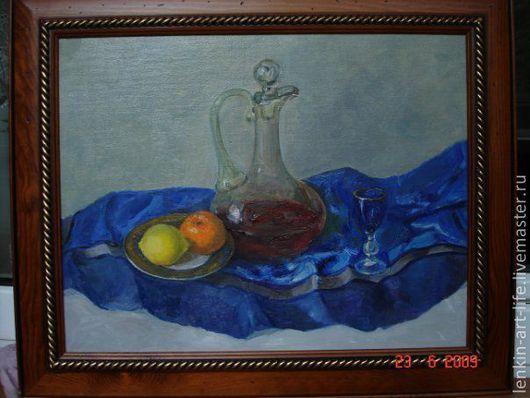 Натюрморт ручной работы. Ярмарка Мастеров - ручная работа. Купить натюрморт с бутылкой. Handmade. Синий, цитрусовые, бутылка, натюрморт, графин