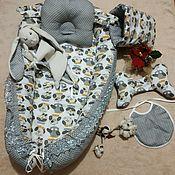 Кокон-гнездо ручной работы. Ярмарка Мастеров - ручная работа Кокон-гнездо: набор для новорожденного. Handmade.