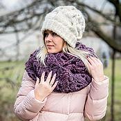 Аксессуары handmade. Livemaster - original item Winter hat with goat fluff. Warm hat. Connected to the spokes. Handmade.