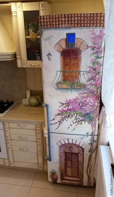 Декор поверхностей ручной работы. Ярмарка Мастеров - ручная работа. Купить Роспись холодильника Прованс. Handmade. Разноцветный, холодильник дом
