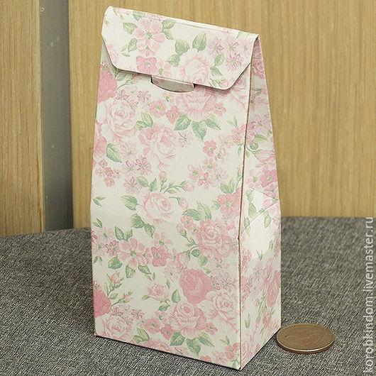 Упаковка ручной работы. Ярмарка Мастеров - ручная работа. Купить Коробочка-пакетик 7х15х4 см розовая цветочная. Handmade. Бонбоньерка