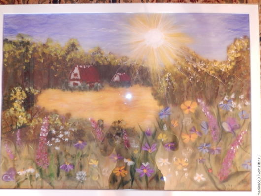 """Пейзаж ручной работы. Ярмарка Мастеров - ручная работа. Купить Картина из шерсти """"В поле"""". Handmade. Разноцветный, Картины и панно"""