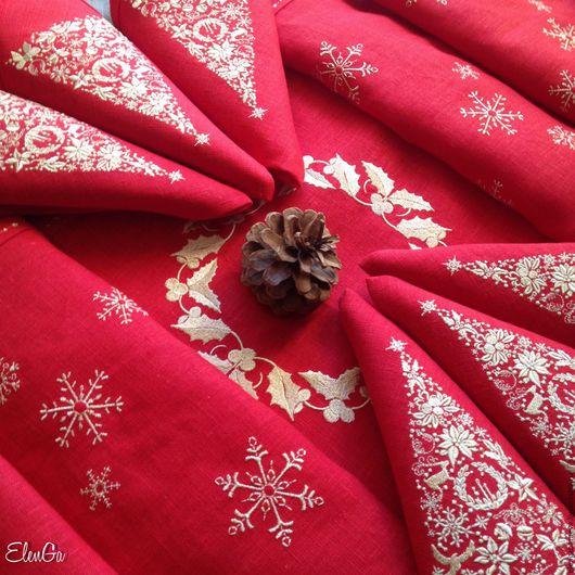 Текстиль, ковры ручной работы. Ярмарка Мастеров - ручная работа. Купить Скатерть Дорожка Салфетки с вышивкой -Рождественская ель. Handmade.