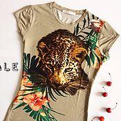 """Одежда ручной работы. Ярмарка Мастеров - ручная работа Дизайнерская футболка """"Леопард"""". Handmade."""