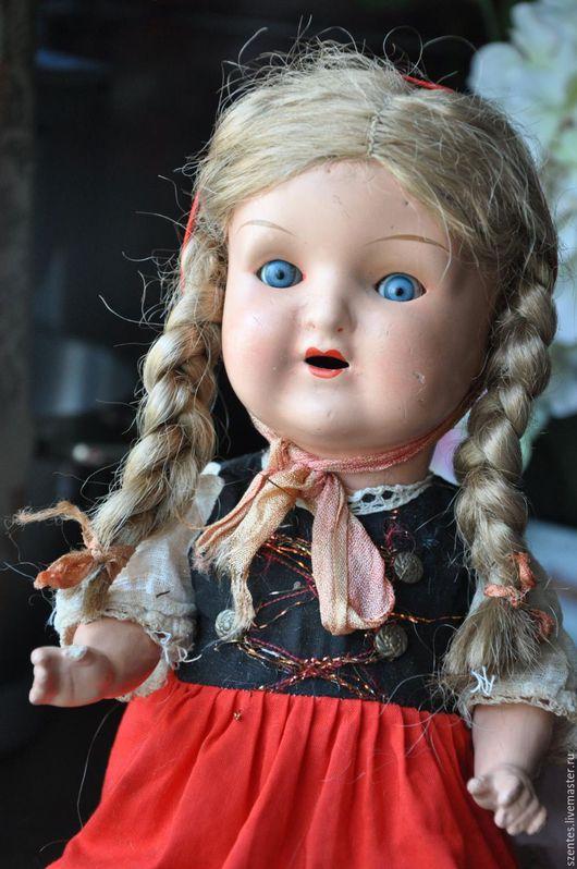 Винтажные куклы и игрушки. Ярмарка Мастеров - ручная работа. Купить Антикварная кукла. Handmade. Ярко-красный, папье-маше