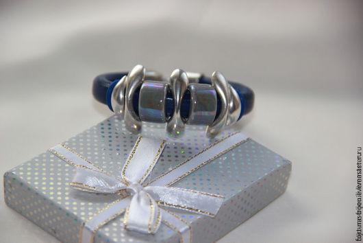 Браслеты ручной работы. Ярмарка Мастеров - ручная работа. Купить браслет Джинсовая симфония. Handmade. Синий, стильный браслет