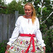Русский стиль ручной работы. Ярмарка Мастеров - ручная работа Белая блуза в фольклорном стиле. Handmade.