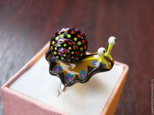 """Кольца ручной работы. Ярмарка Мастеров - ручная работа. Купить Кольцо """"Мексиканская улитка"""". Handmade. Улитка, роспись акрилом, рожки"""