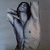 """Картины и панно ручной работы. Ярмарка Мастеров - ручная работа Вышитая картина """"Графика в синих тонах ОН"""".. Handmade."""