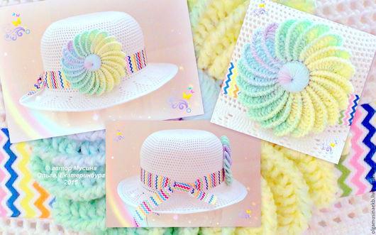"""Шляпы ручной работы. Ярмарка Мастеров - ручная работа. Купить Шляпка детская """"Радуга"""". Handmade. Белый, шляпка с цветком"""