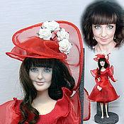 """Портретная кукла ручной работы. Ярмарка Мастеров - ручная работа """" Lady in red""""2 12 шарниров30см. Handmade."""