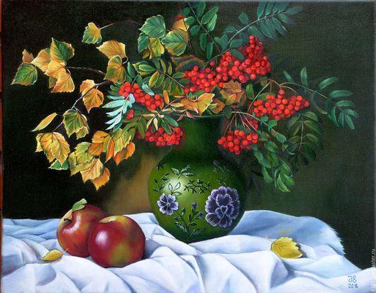 """Картины цветов ручной работы. Ярмарка Мастеров - ручная работа. Купить """"Осенний букет"""". Handmade. Комбинированный, осень, Рябина, береза"""