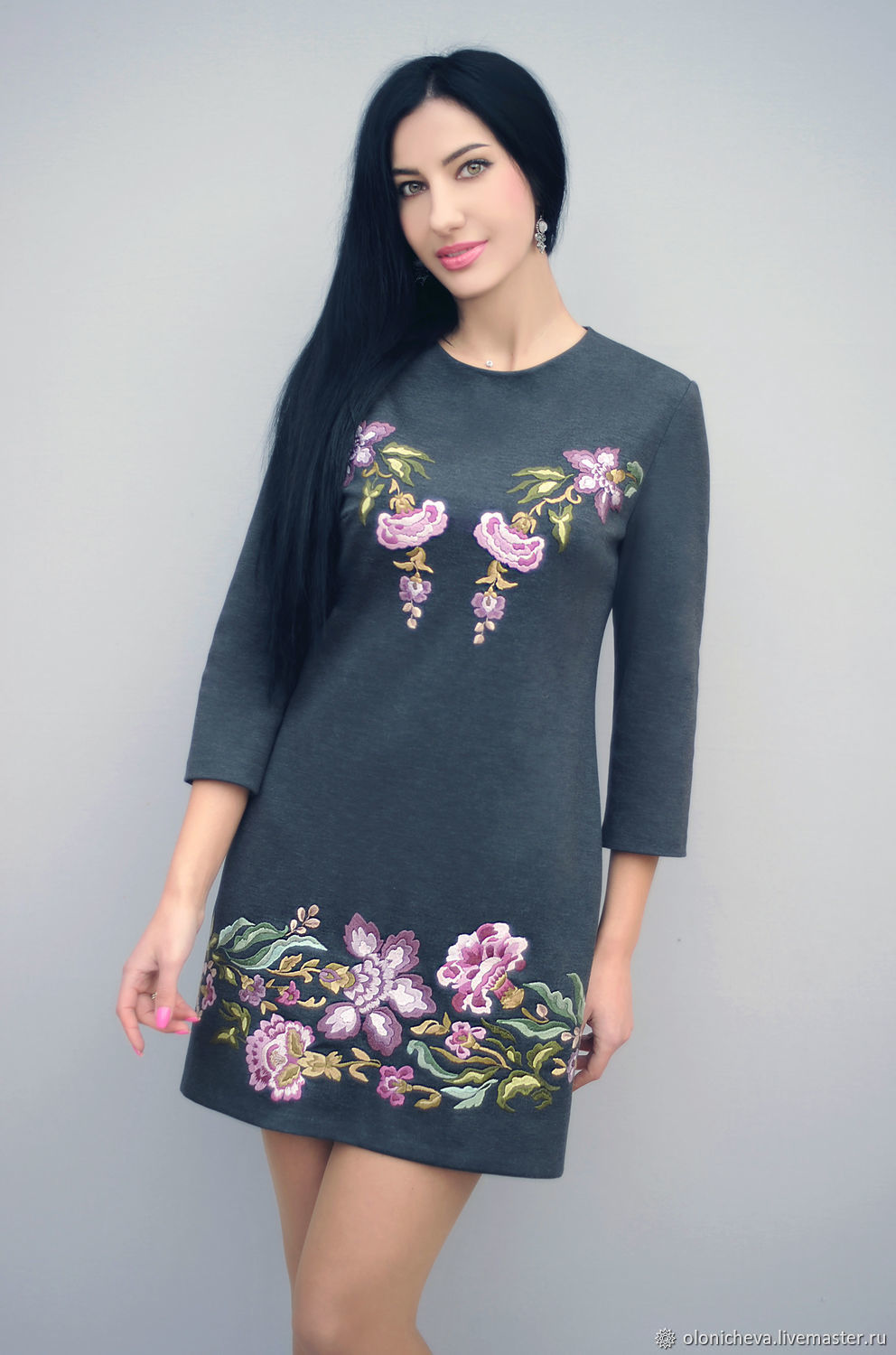 Dress with embroidery 'Lilac blossom' knitted dress, Dresses, Vinnitsa,  Фото №1