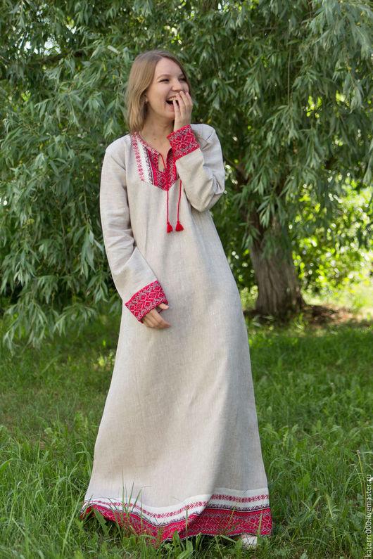 """Одежда ручной работы. Ярмарка Мастеров - ручная работа. Купить Платье """"Берегиня"""" небелено-красное. Handmade. Белый, этно, акрил"""