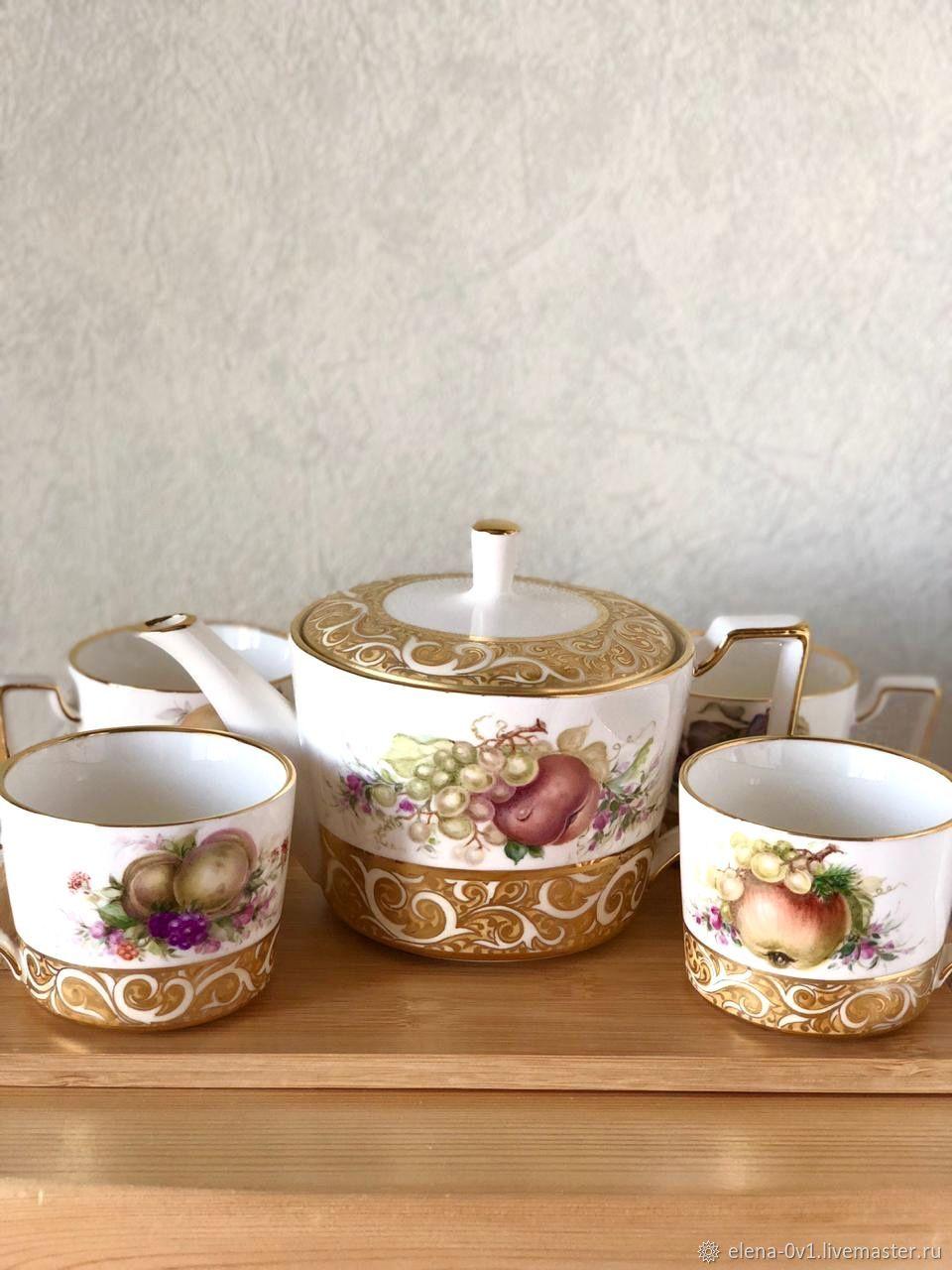 Чайный набор на деревянном подносе «Фрукты», Наборы посуды, Екатеринбург,  Фото №1