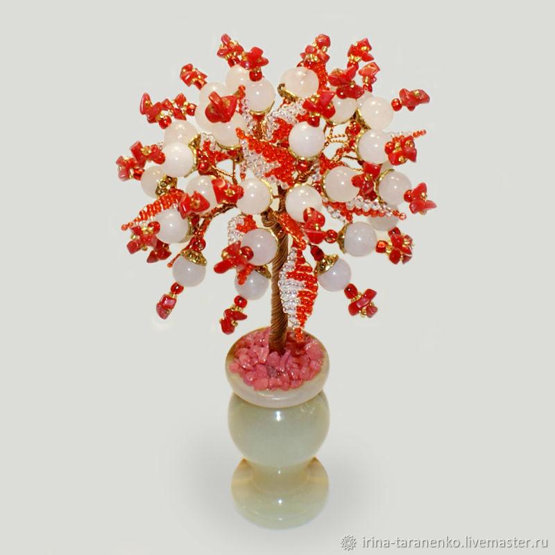Rose quartz and coral tree