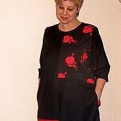 Одежда ручной работы. Ярмарка Мастеров - ручная работа Платье шерстяное черно-красное. Handmade.