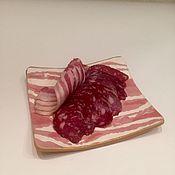 """Посуда ручной работы. Ярмарка Мастеров - ручная работа """"Бекон"""" сервировочная керамическая тарелка ручной работы. Handmade."""