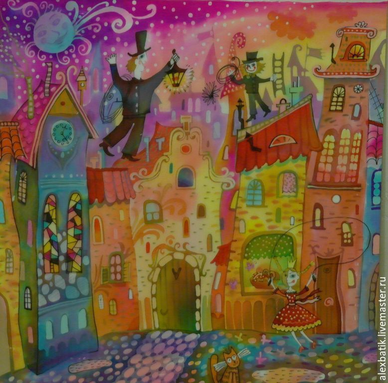 """City handmade. Livemaster - handmade. Buy Silk painting """"Chimney-sweeper."""".Silk, picture for kidsroom, fairy picture"""