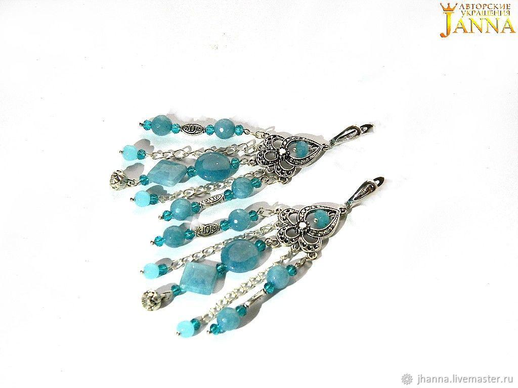 Blue quartz. ' Brunia' earrings with blue quartz, Earrings, Volgograd,  Фото №1