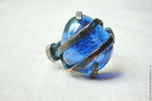 Кольца ручной работы. Ярмарка Мастеров - ручная работа. Купить кольцо синее Для Морской Царевны. Handmade. Медные украшения