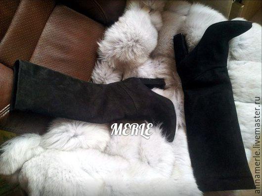 Обувь ручной работы. Ярмарка Мастеров - ручная работа. Купить Сапоги Comfort черный замш 10 см. Handmade. Черный